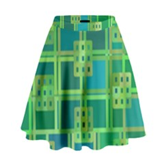 Green Abstract Geometric High Waist Skirt