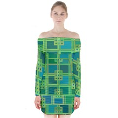 Green Abstract Geometric Long Sleeve Off Shoulder Dress