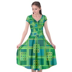 Green Abstract Geometric Cap Sleeve Wrap Front Dress