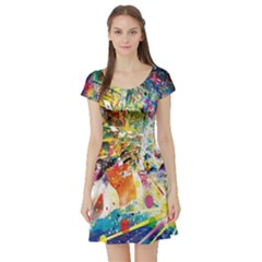 Multicolor Anime Colors Colorful Short Sleeve Skater Dress