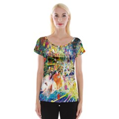 Multicolor Anime Colors Colorful Cap Sleeve Tops
