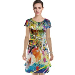 Multicolor Anime Colors Colorful Cap Sleeve Nightdress