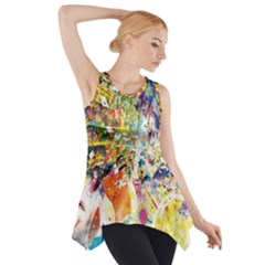 Multicolor Anime Colors Colorful Side Drop Tank Tunic
