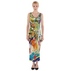 Multicolor Anime Colors Colorful Fitted Maxi Dress
