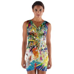 Multicolor Anime Colors Colorful Wrap Front Bodycon Dress