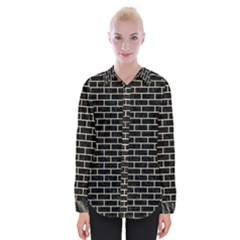 Brick1 Black Marble & Beige Linen Womens Long Sleeve Shirt