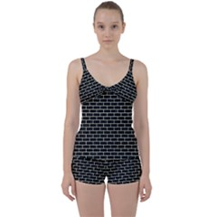 Brick1 Black Marble & Beige Linen Tie Front Two Piece Tankini