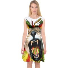 Reggae Lion Capsleeve Midi Dress