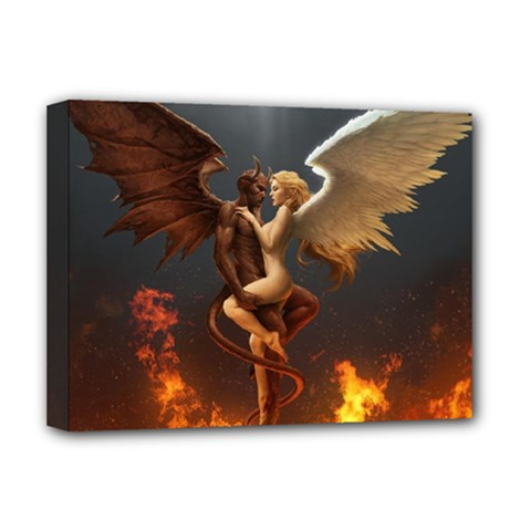 Angels Wings Curious Hell Heaven Deluxe Canvas 16  X 12