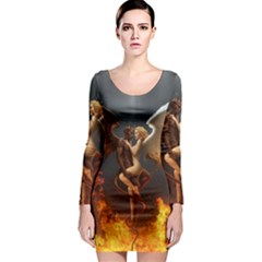 Angels Wings Curious Hell Heaven Long Sleeve Bodycon Dress