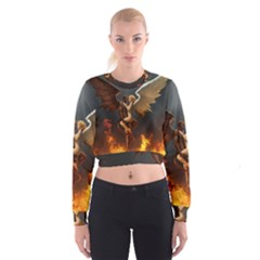 Angels Wings Curious Hell Heaven Cropped Sweatshirt