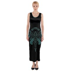 Angel Tribal Art Fitted Maxi Dress