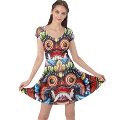 Wood Sculpture Bali Logo Cap Sleeve Dresses