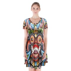 Wood Sculpture Bali Logo Short Sleeve V Neck Flare Dress