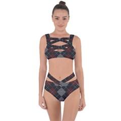 Wool Texture With Great Pattern Bandaged Up Bikini Set
