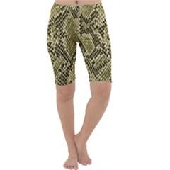 Yellow Snake Skin Pattern Cropped Leggings