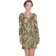 Yellow Snake Skin Pattern Long Sleeve Nightdress