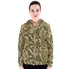 Yellow Snake Skin Pattern Women s Zipper Hoodie