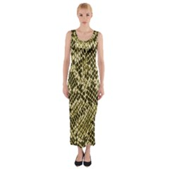Yellow Snake Skin Pattern Fitted Maxi Dress