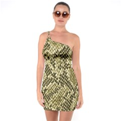 Yellow Snake Skin Pattern One Soulder Bodycon Dress