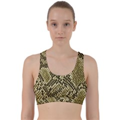 Yellow Snake Skin Pattern Back Weave Sports Bra