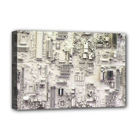 White Technology Circuit Board Electronic Computer Deluxe Canvas 18  X 12