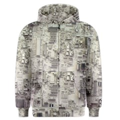 White Technology Circuit Board Electronic Computer Men s Zipper Hoodie