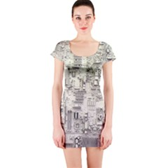 White Technology Circuit Board Electronic Computer Short Sleeve Bodycon Dress