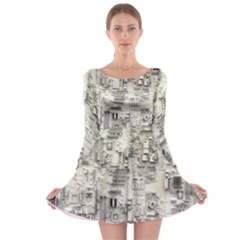 White Technology Circuit Board Electronic Computer Long Sleeve Skater Dress