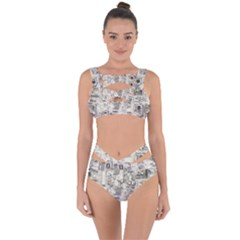 White Technology Circuit Board Electronic Computer Bandaged Up Bikini Set