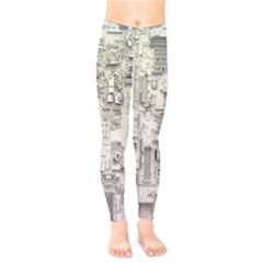 White Technology Circuit Board Electronic Computer Kids  Legging