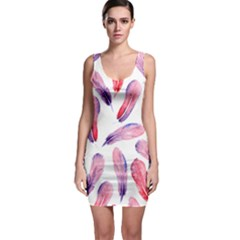 Watercolor Pattern With Feathers Bodycon Dress
