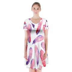 Watercolor Pattern With Feathers Short Sleeve V Neck Flare Dress