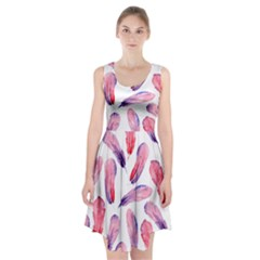 Watercolor Pattern With Feathers Racerback Midi Dress