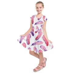Watercolor Pattern With Feathers Kids  Short Sleeve Dress