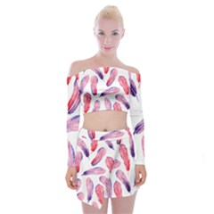 Watercolor Pattern With Feathers Off Shoulder Top With Skirt Set