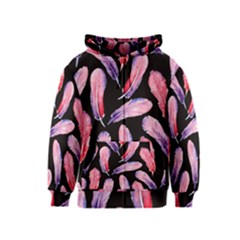 Watercolor Pattern With Feathers Kids  Zipper Hoodie