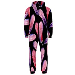 Watercolor Pattern With Feathers Hooded Jumpsuit (men)