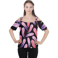 Watercolor Pattern With Feathers Cutout Shoulder Tee