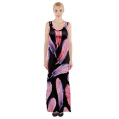 Watercolor Pattern With Feathers Maxi Thigh Split Dress