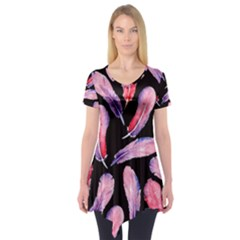 Watercolor Pattern With Feathers Short Sleeve Tunic