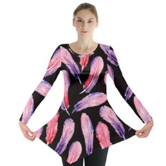 Watercolor Pattern With Feathers Long Sleeve Tunic