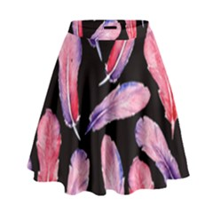 Watercolor Pattern With Feathers High Waist Skirt
