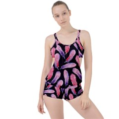 Watercolor Pattern With Feathers Boyleg Tankini Set