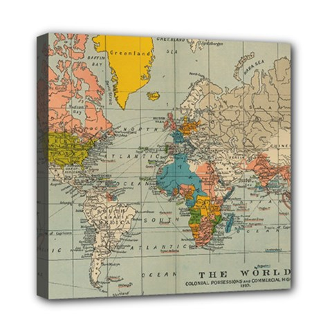 Vintage World Map Mini Canvas 8  X 8