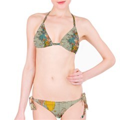 Vintage World Map Bikini Set