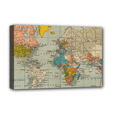 Vintage World Map Deluxe Canvas 18  X 12