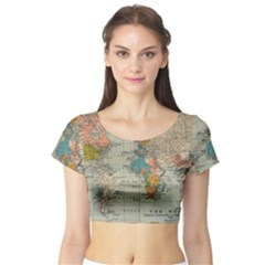 Vintage World Map Short Sleeve Crop Top (tight Fit)
