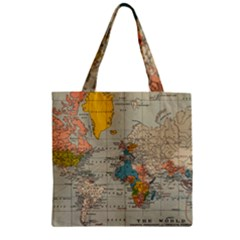 Vintage World Map Zipper Grocery Tote Bag