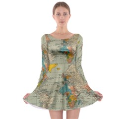 Vintage World Map Long Sleeve Skater Dress